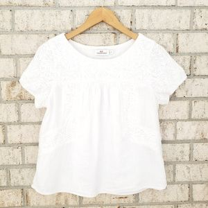 Vineyard Vines Monstera Linear Embroidered Top